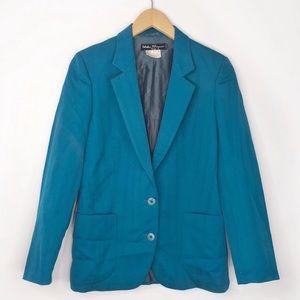 Salvatore Ferragamo Teal Blue Wool Blazer